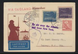 Flugpost air mail Schweden Zensur Karte MIF via England Rahway New York USA