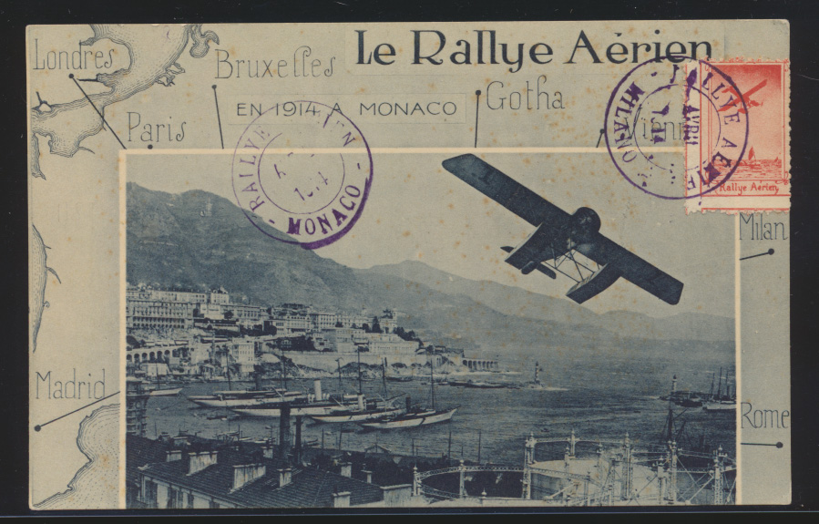 Flugpost air mail Monaco selt. Karte Le Rallye Aerien Milano 1914 0