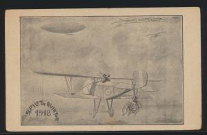 Flugpost air mail Italien frühe Flugkarte Künstler Zeppelin