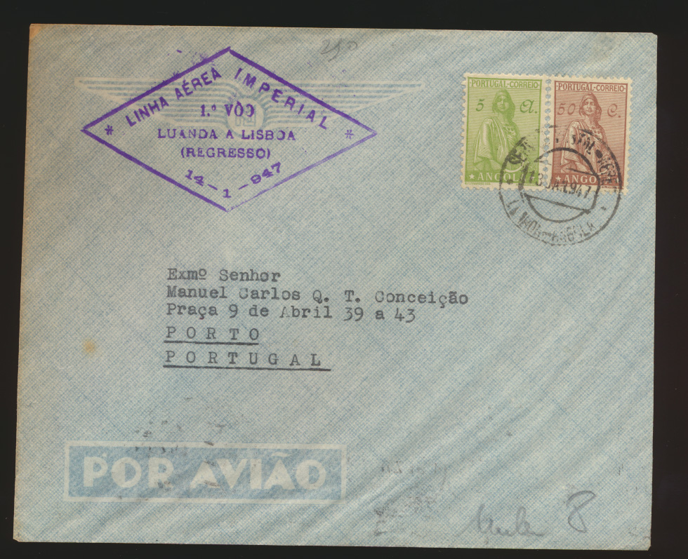 Flugpost air mail Brief MIF Luanda Angola nach Porto Portugal   0