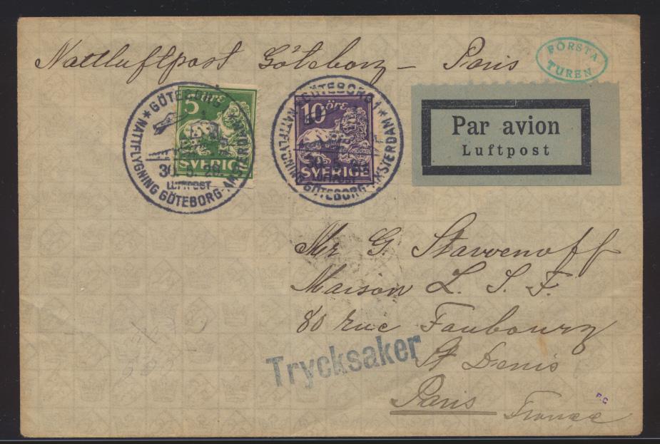 Flugpost air mail Brief MIF Schweden Göteburg Amsterdam nach Paris France 0