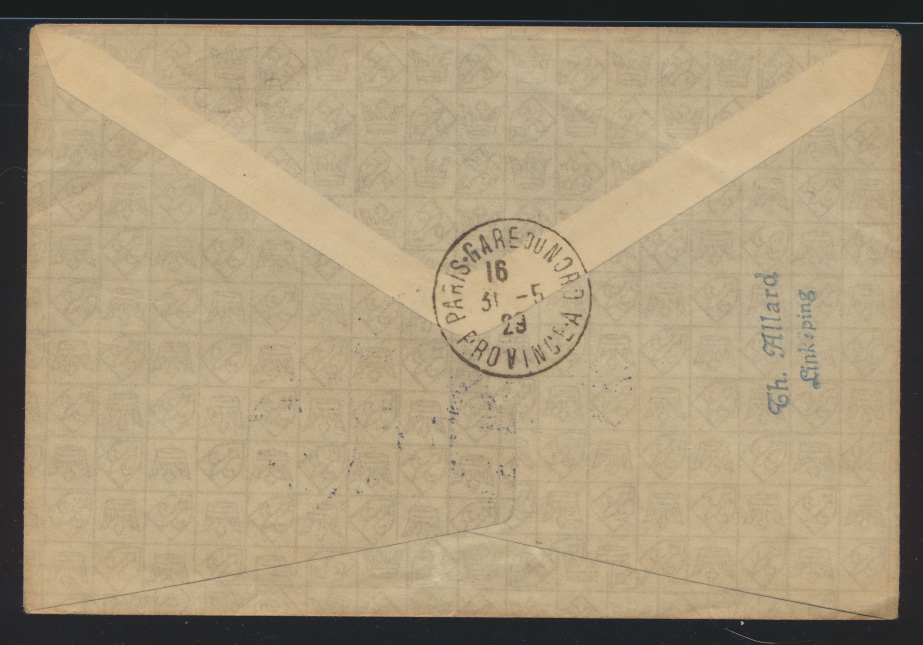 Flugpost air mail Brief MIF Schweden Göteburg Amsterdam nach Paris France 1