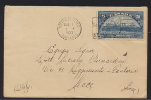 Flugpost air mail Brief Canada EF UPU 5c Stratford Ontario nach Lecce Italien