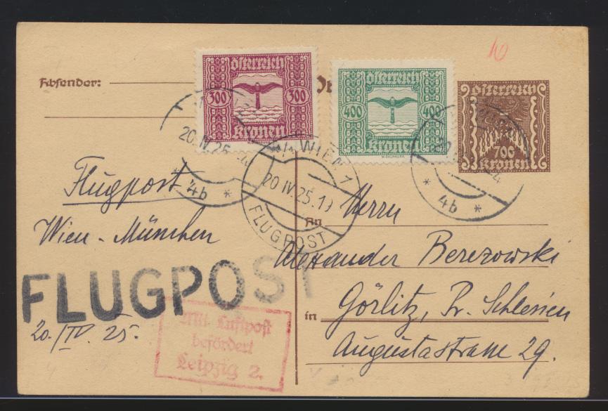 Flugpost air mail Österreich Ganzsache ZUF Wien Görlitz Schlesien  0