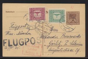 Flugpost air mail Österreich Ganzsache ZUF Wien Görlitz Schlesien