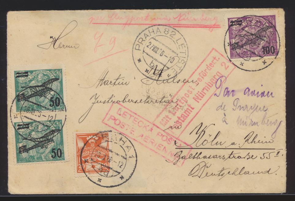 Flugpost air mail Tschechoslowakei Prag Köln via Nürnberg 1926 0