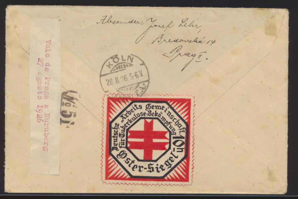 Flugpost air mail Tschechoslowakei Prag Köln via Nürnberg 1926 1