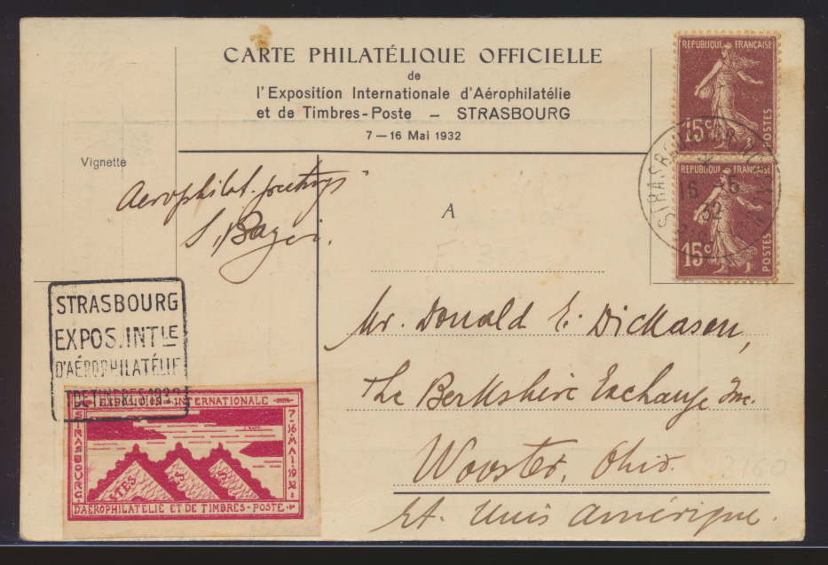 Flugpost air mail Frankreich SST Strassburg Philatelie Ausstellung + Vignette 0