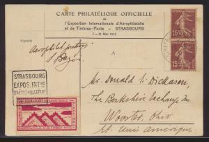 Flugpost air mail Frankreich SST Strassburg Philatelie Ausstellung + Vignette