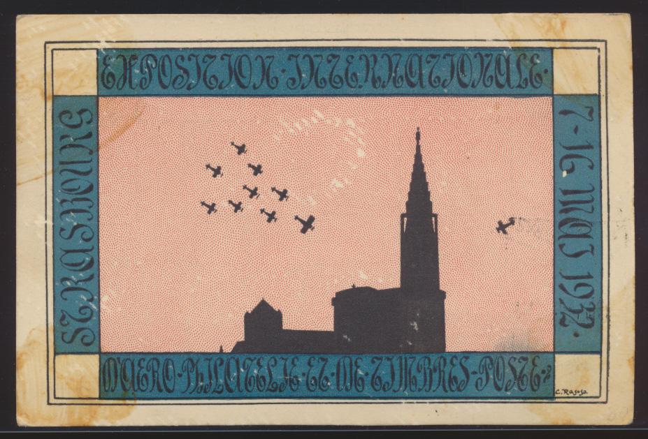 Flugpost air mail Frankreich SST Strassburg Philatelie Ausstellung + Vignette 1