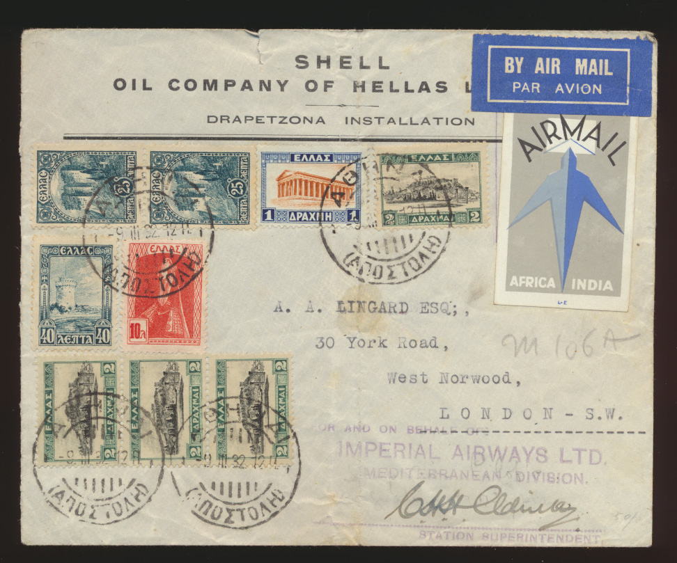 Flugpost air mail Griechenland Norwood London Vignette Africa Indien Reklame 0