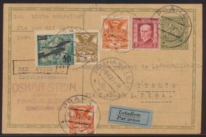 Flugpost air mail Tschechoslowakei Ganzsache + ZuF nach Pisa Italien 18.6.1929