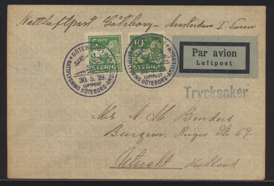 Flugpost air mail Schweden Göteburg Amsterdam Niederlande nach Utrecht 30.5.1929 0