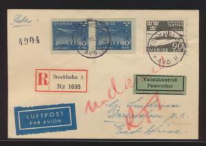 Flugpost air mail R Brief Schweden Stockholm Dar es Salam Südafrika 10.11.1945