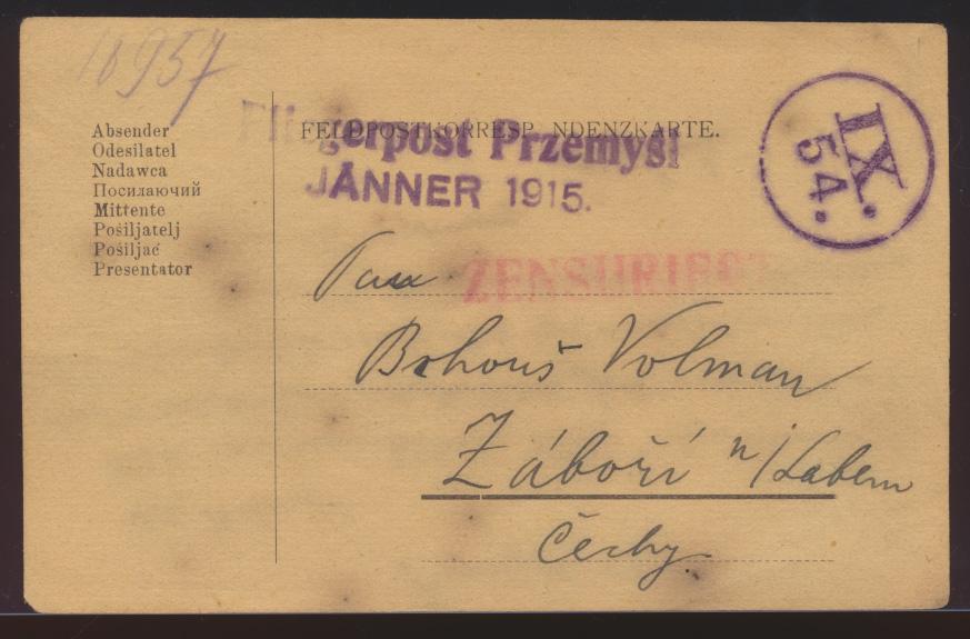 Flugpost air mail Polen viol. L1 Fliegerpost aus der Belagerung Przemysl Zensur  0