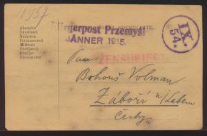 Flugpost air mail Polen viol. L1 Fliegerpost aus der Belagerung Przemysl Zensur