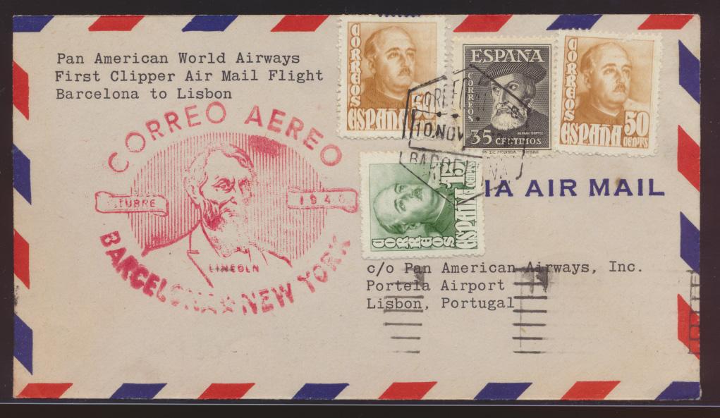 Flugpost air mail Spanien Barcelona New York USA nach Lissabon Portugal  0