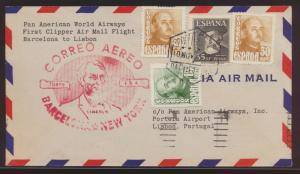 Flugpost air mail Spanien Barcelona New York USA nach Lissabon Portugal