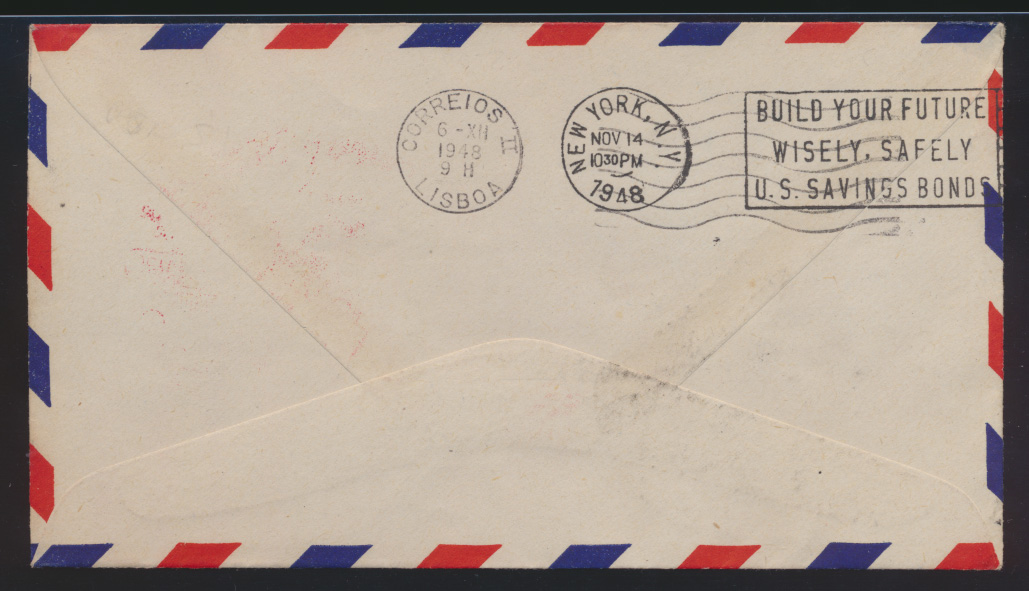 Flugpost air mail Spanien Barcelona New York USA nach Lissabon Portugal  1