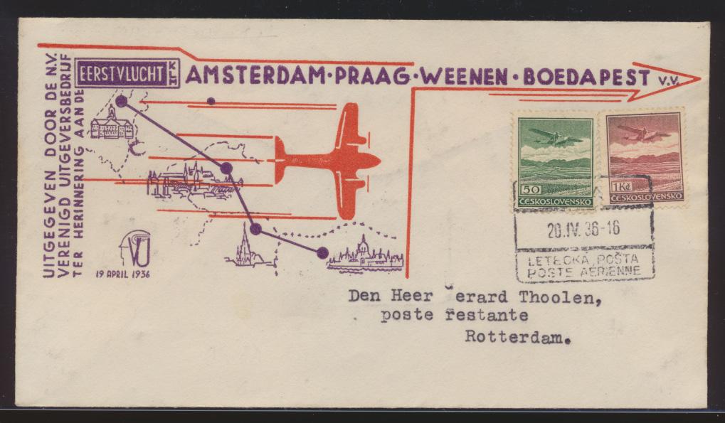 Flugpost air mail Tschechoslowakei Prag Amsterdam Rotterdam schön Illustrierter 0