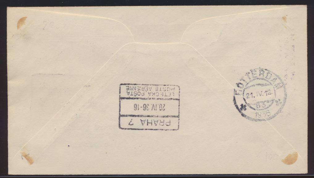 Flugpost air mail Tschechoslowakei Prag Amsterdam Rotterdam schön Illustrierter 1