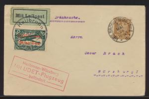 Flugpost air mail Deutsches Reich Heilbronn Flugtag roter Aufdruck auf 40 Pfg.