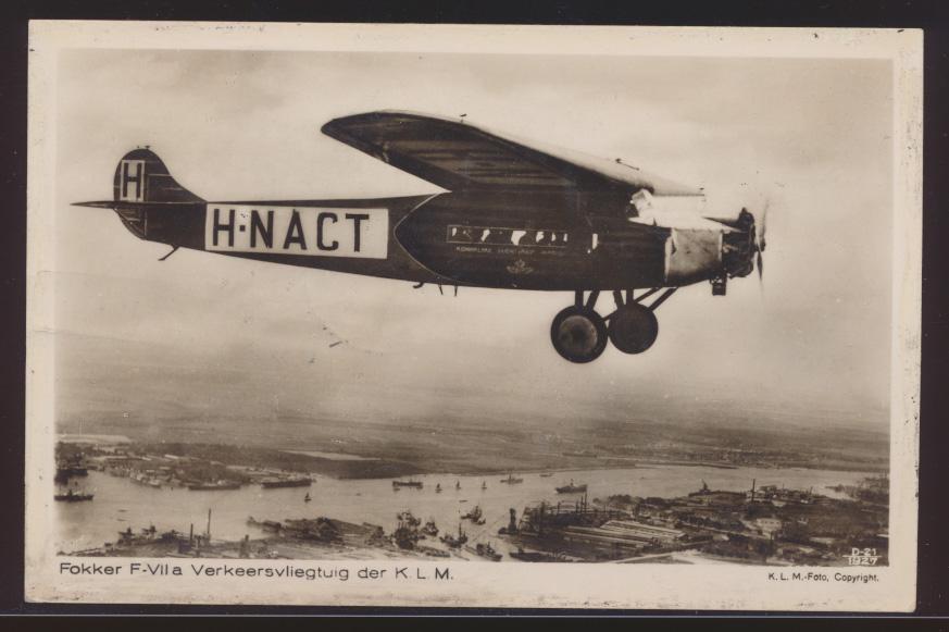Flugpost air mail Niederlande seltene Flugkarte Fokker F-VIIa der KLM nach  0