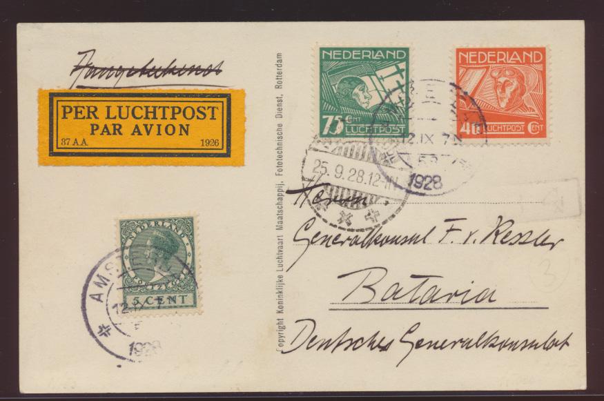 Flugpost air mail Niederlande seltene Flugkarte Fokker F-VIIa der KLM nach  1