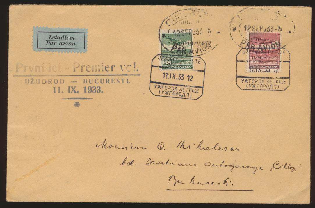Flugpost air mail Brief MIF Tschechoslowakei Uzhorod Bukarest Rumänien  0