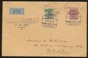 Flugpost air mail Brief MIF Tschechoslowakei Uzhorod Bukarest Rumänien