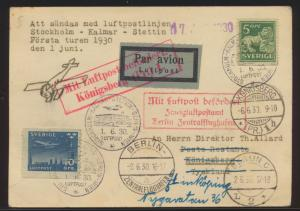 Flugpost air mail Karte Schweden Stockholm Kalmar Stettin via Berlin Königsberg