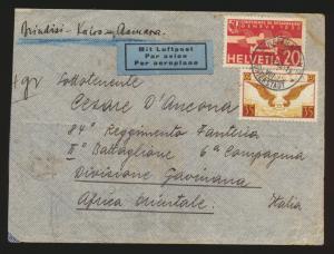 Flugpost air mail Schweiz Schaffhausen hs Brindisi Kairo Asmara Division Italien