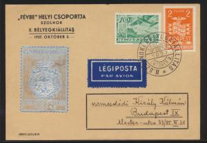 Flugpost air mail Ungarn Sonderkarte mit aufgeklebter silberner Vignette