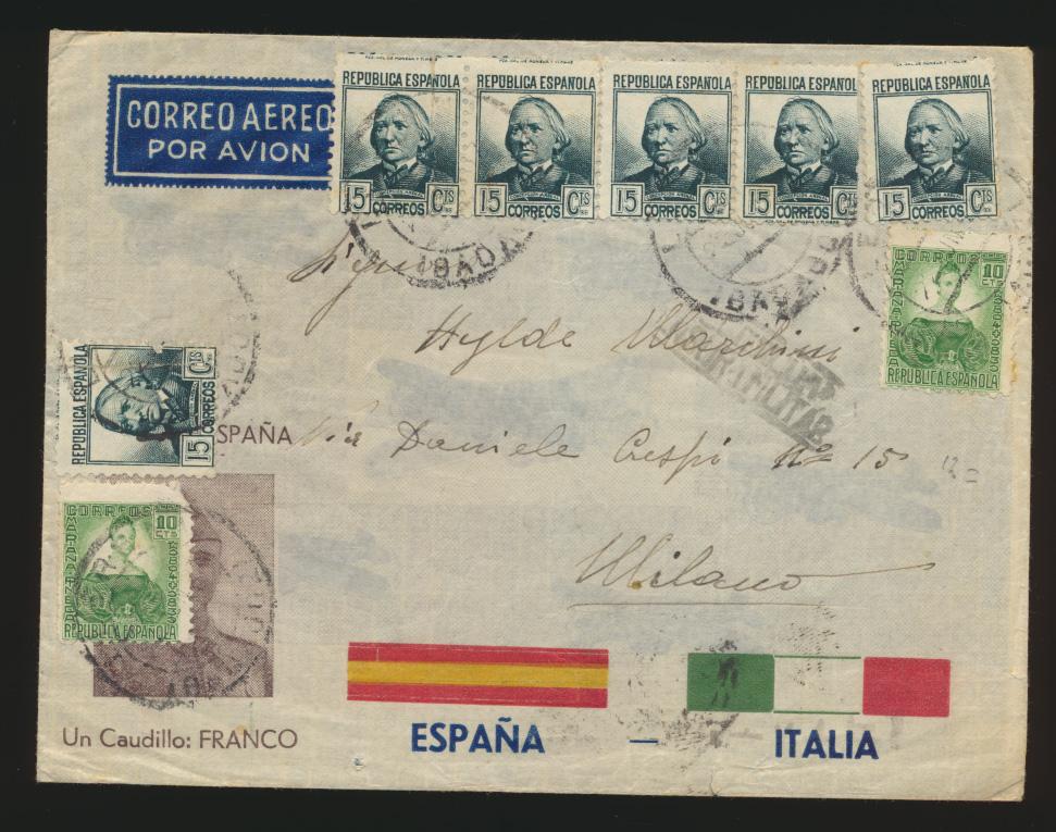 Flugpost air mail Spanien Propaganda Umschlag Franco Flugpost Flugzeuge 0