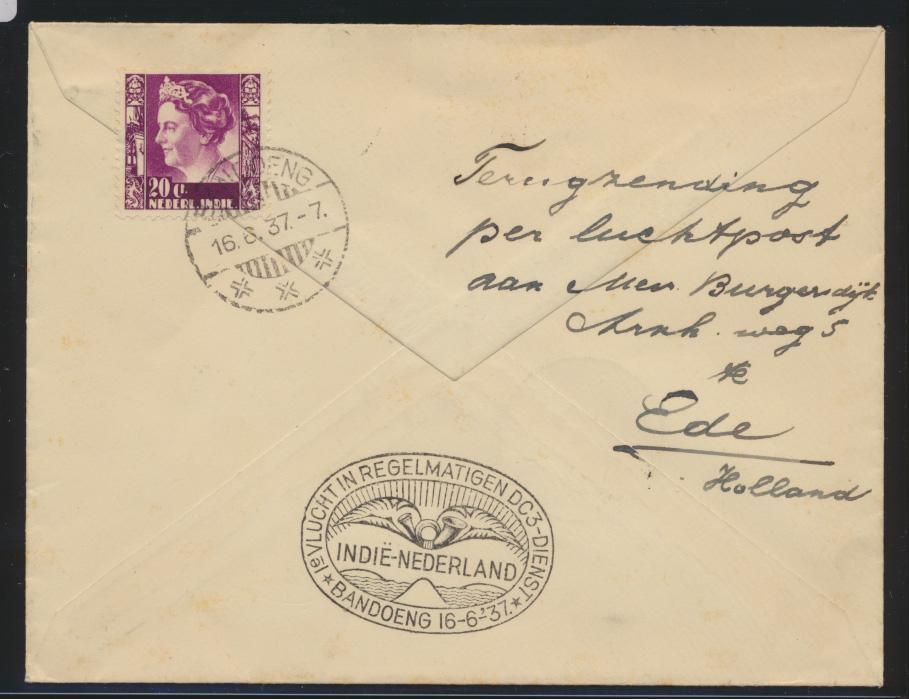 Flugpost air mail Niederlande Ede nach Bandoeng Indonesien 3.6.1937 Der Brief  1