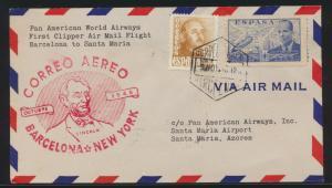 Flugpost air mail Spanien Barcelona New York USA nach Santa Maria Azoren mit