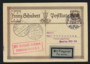 Flugpost air mail Österreich Schubert Ganzsache SST Wien Philatelie nach Berlin