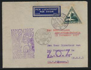 Flugpost air mail Niederlande Amsterdam Batavia 500. Flug n. Bandoeng und rs.