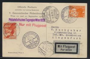 Flugpost air mail Österreich Offizielle Postkarte SST Philatelie Wien Klagenfurt
