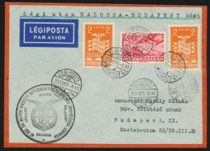 Flugpost air mail Ungarn Budapest Kalosca Budapest dekorativer Brief 13.9.1937