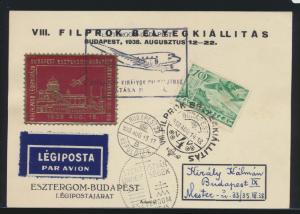 Flugpost air mail Ungarn Karte mit Vignette und rs. Posthorn und Monument