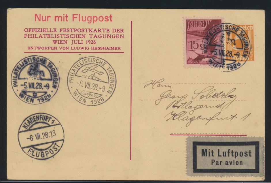 Flugpost air mail Österreich Privatganzsache +ZUF Philatelie SST Wien Klagenfurt 0