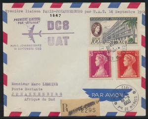 Flugpost air mail Monaco R Brief Monte Carlo Johannesburg Südafrika U.A.T.