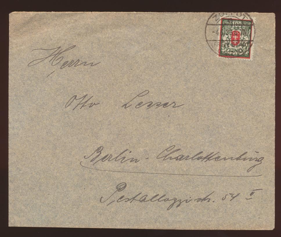Danzig Brief EF128 ab K2  Zoppot Freie Stadt Danzig nach Berlin Charlottenburg  0