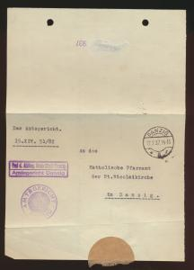 K2 Danzig 5 Dienstbrief viol. R2 Freie Stadt Amtsgericht betr. Kirchenaustritt