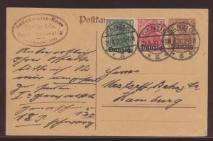Danzig Ganzsache mit ZUF 10+5 Pfg Aufdruck Germania  nach Hamburg 21.8.1920