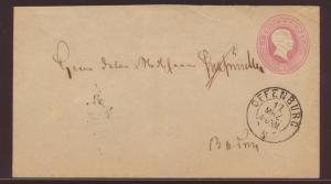 Baden Ganzsache 3 Kr. Großherzog Friedrich K2 Offenburg