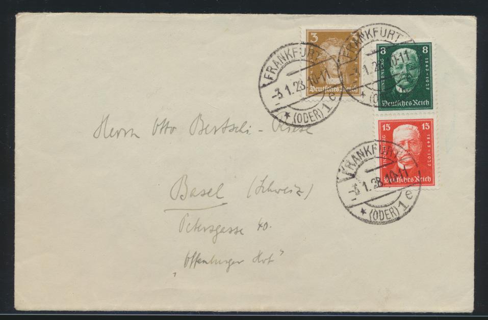 D. Reich Zusammendruck Brief Hindenburg S 36 Frankfurt nach Basel Schweiz 80,00  0
