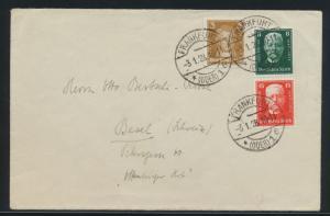 D. Reich Zusammendruck Brief Hindenburg S 36 Frankfurt nach Basel Schweiz 80,00