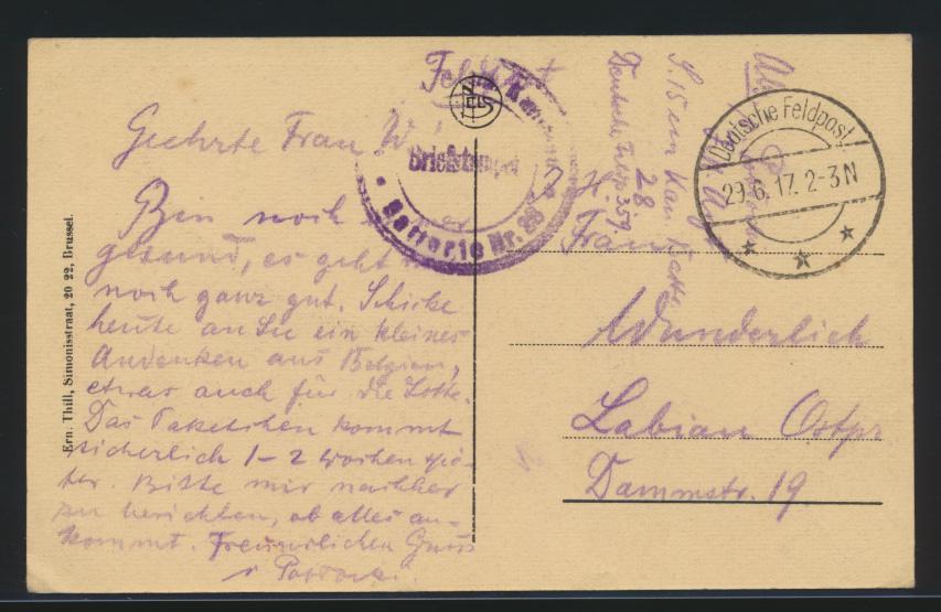 Ansichtskarte Gent Belgien per Feldpost nach Labiau Ostpreussen 29.6.1917 1
